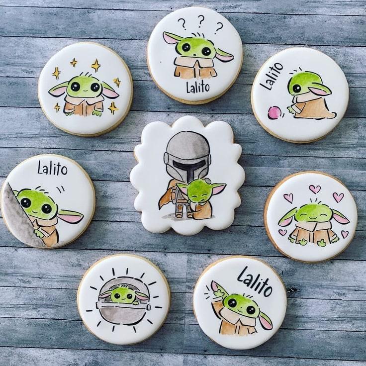 Hand Drawn Baby Yoda Cookies