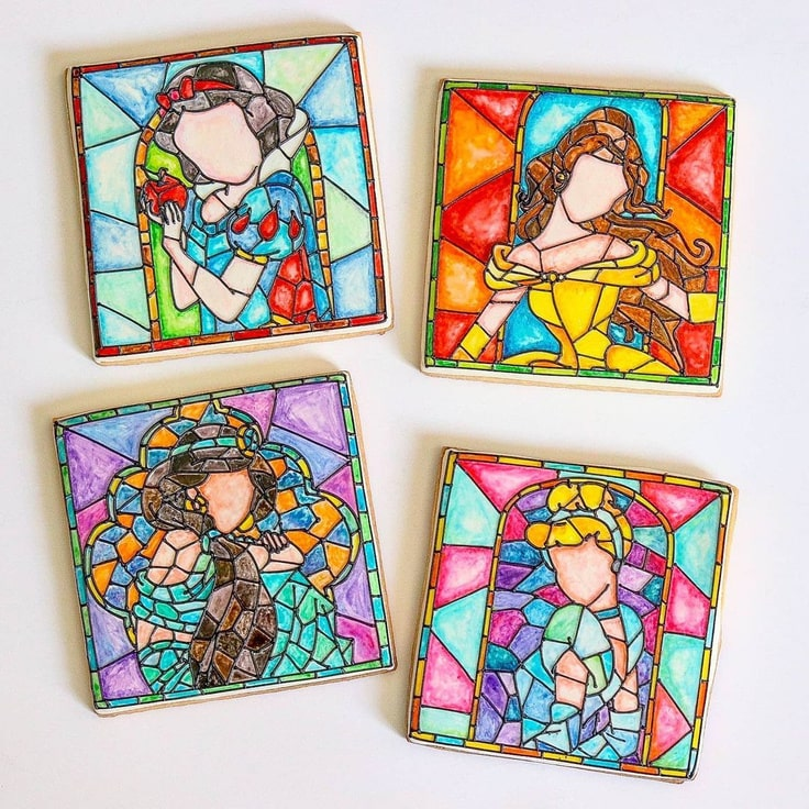 Stained Glass Disney Princess Cookies