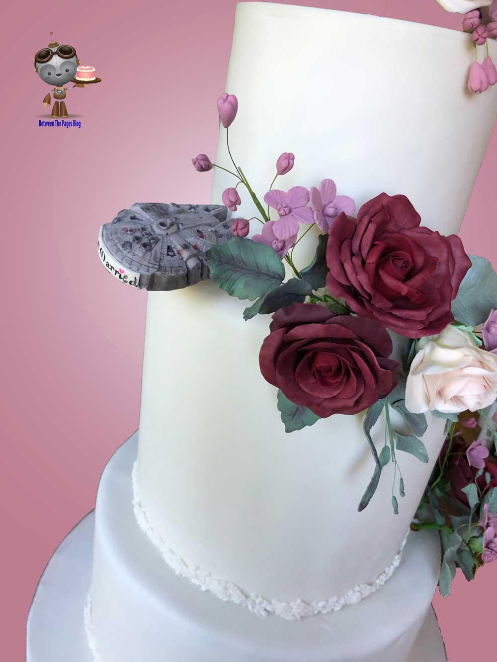 Millennium Falcon w Sugar Flowers on Wedding Cake