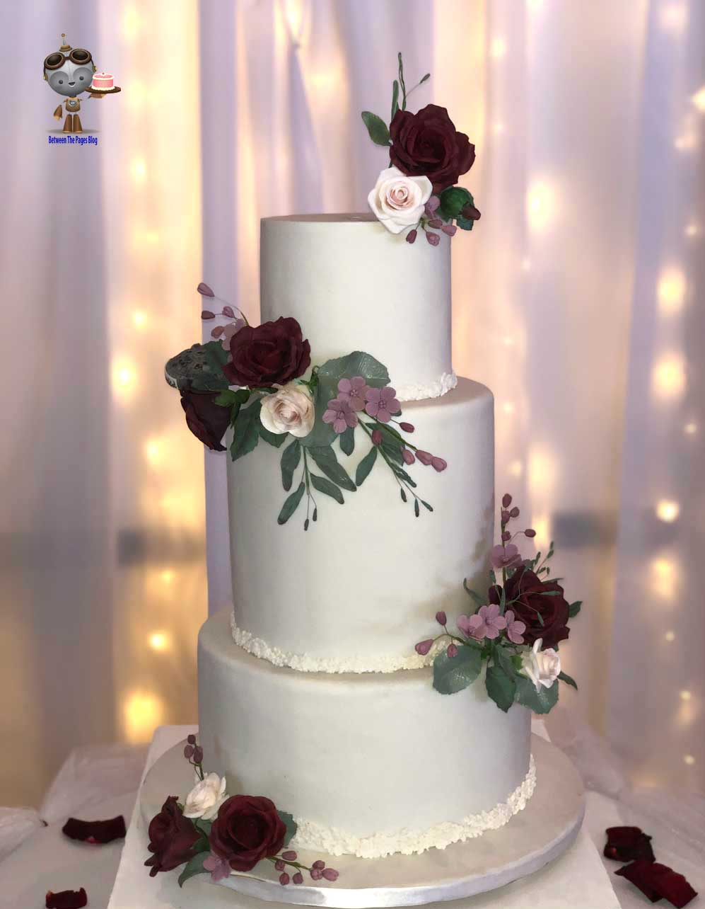 Wedding Cake w burgundy Sugar Flowers