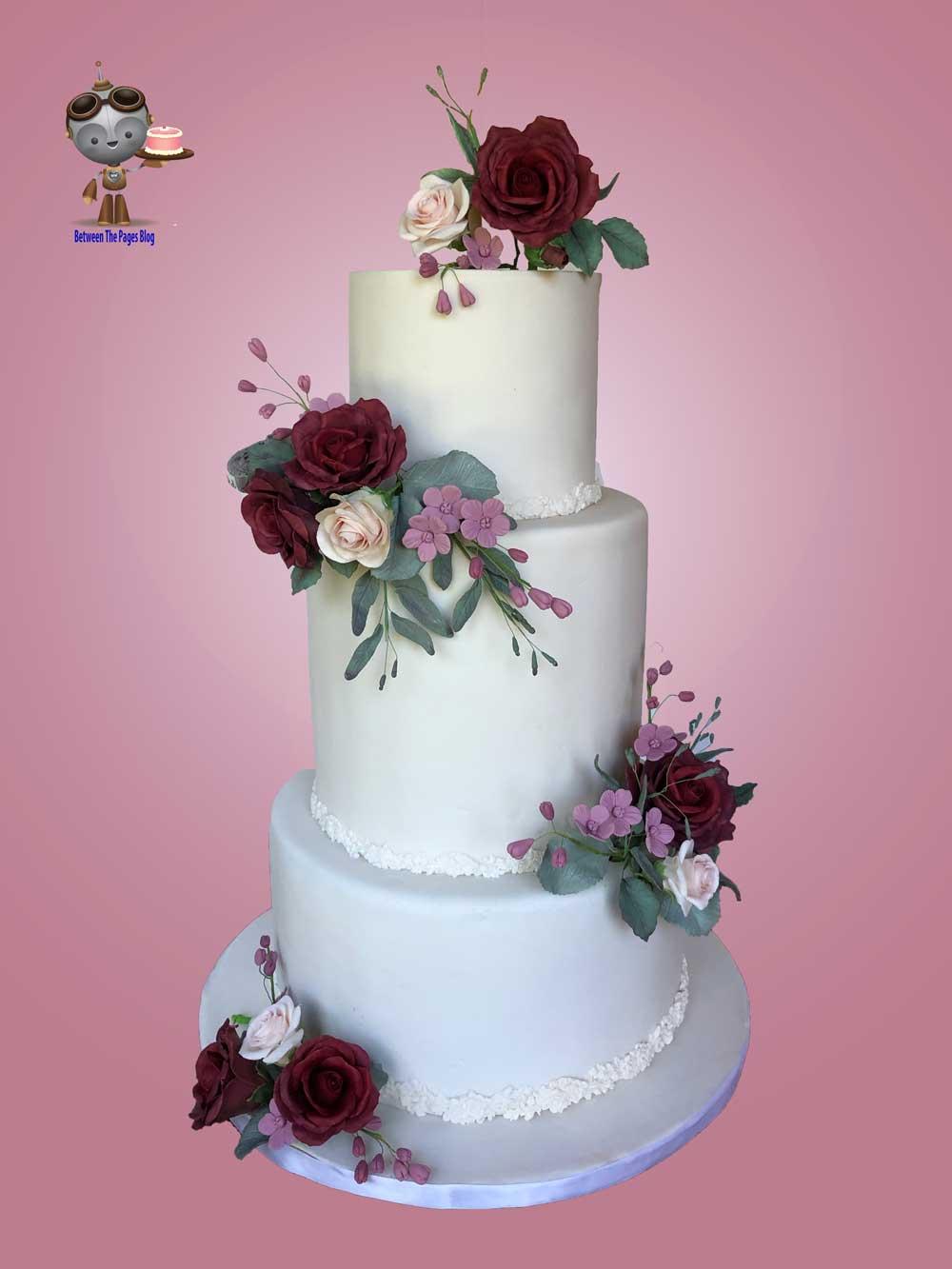 Wedding Cake w Burgundy Sugar Roses